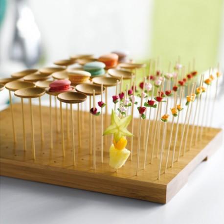 Safata de bambú 30x25x23 per a 120 pinxos