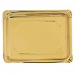Bandeja cartón laminada oro 10x16 p.100