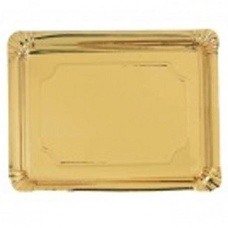 Bandeja cartón laminada oro 14x21 p.100