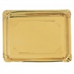 Bandeja cartón laminada oro 16x22 p.100