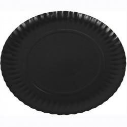 Plato cartón laminado negro 19,5cm p.100