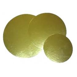 Disco cartón laminado oro 25,5cm p.100
