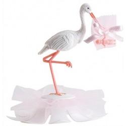 Cigüeña rosa plástico con tul 11cm p.20