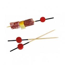 Pincho bambú negro con cuenta roja 9cm c.2000