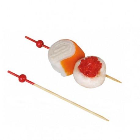 Pincho bambú bola roja final rojo 9cm c.2000