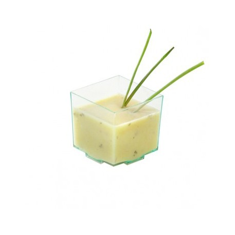 Vaso plástico cúbico verde trans. 45x45x43 c.600