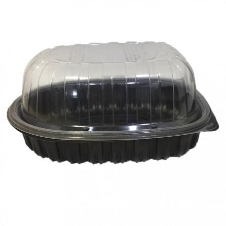 Envase pollo negro c/tapa cúpula c.110
