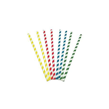 Caña de papel colores bio 8x230 mm p.100